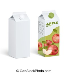 Isolated Carton Juice Packages - Realistic isolated images...
