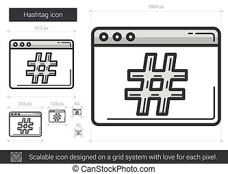 Hashtag line icon - Hashtag vector line icon isolated on...