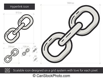 Hyperlink line icon. - Hyperlink vector line icon isolated...