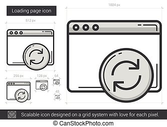 Loading page line icon. - Loading page vector line icon...