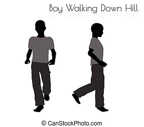 boy in Everyday Walking Down Hill pose on white background -...