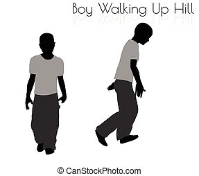 boy in Everyday Walking Up Hilll pose on white background -...