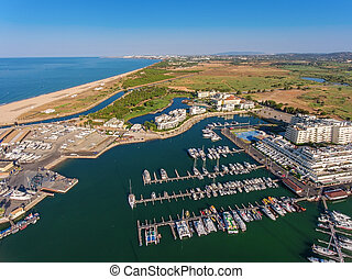 Aerial view of Vilamoura marina. Algarve Portugal.