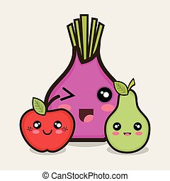 vegetables kawaii cartoon
