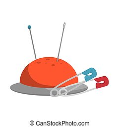 pincushion with pins and needles icon. colorful design....