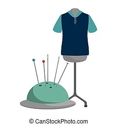 pincushion with pins and needles and garments icon. colorful...