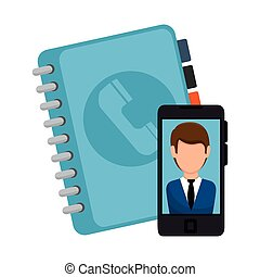 directory book and smartphone - directory blue book and...