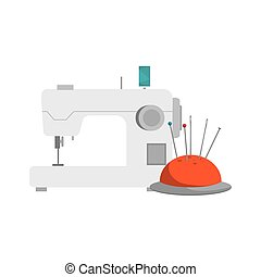 pincushion with pins and needles and sewing machine icon....