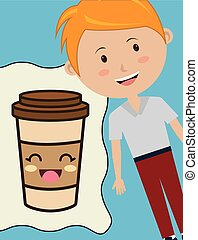 boy smiling and coffee cup
