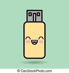 usb memory character kawaii style vector illustration design