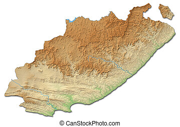 Relief map - Eastern Cape (South Africa) - 3D-Rendering