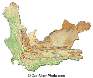 Relief map - Western Cape (South Africa) - 3D-Rendering