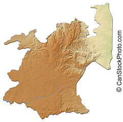 Relief map - Mpumalanga (South Africa) - 3D-Rendering