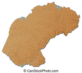 Relief map - Free State (South Africa) - 3D-Rendering