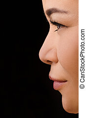 Closeup of beutyful asian woman in contact lensas