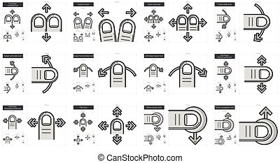Touch gestures line icon set - Touch gestures vector line...