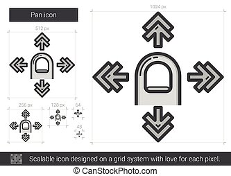 Pan line icon - Pan vector line icon isolated on white...