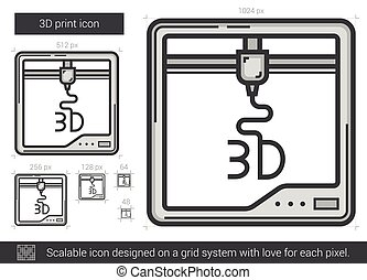 Three D print line icon. - Three D print vector line icon...