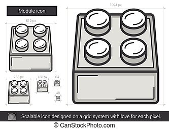 Module line icon. - Module vector line icon isolated on...