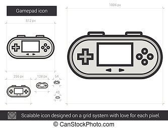 Gamepad line icon - Gamepad vector line icon isolated on...
