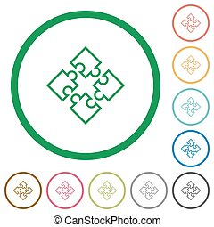 Puzzles outlined flat icons - Set of puzzles color round...