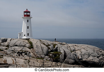 Peggy\\\'s Cove Lighthouse - A sunrise view of the...