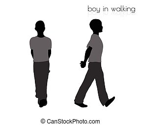 boy in walking pose on white background - EPS 10 vector...
