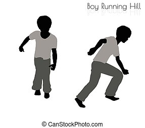 boy in Running pose on white background - EPS 10 vector...