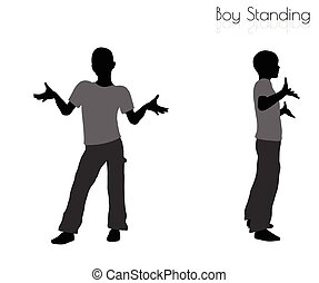 boy in Standing pose on white background - EPS 10 vector...