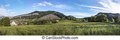 skyline of Seyne les Alpes in the french Region provence des...
