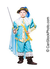Nice boy posing in musketeer costume with a sword. Isolated...