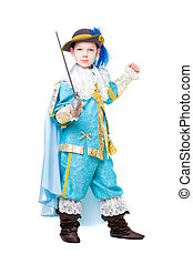 Nice boy wearing like musketeer posing with a sword....