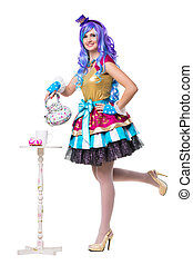 Cheerful young woman wearing colorful dress and blue wig