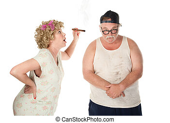 Nagging wife - Bickering wife with cigar confronting husband...