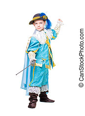 Little boy posing in musketeer costume with a sword....