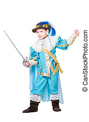 Little boy wearing like musketeer posing with a sword....