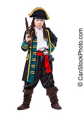 Young boy posing in pirate costume