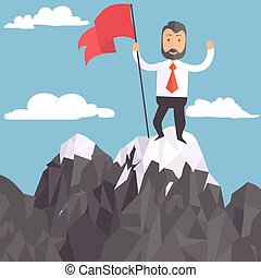 Businessman with flag on a Mountain peak, success -...