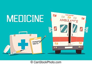 First aid kit and ambulance car, syringe, pill