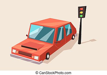 Car or auto, automobile vehicle at traffic light. Transport...