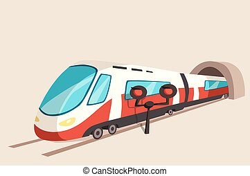 Sleek train movement from tunnel and flash light. Railroad...