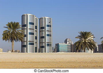 General view of modern buildings in Sharjah - SHARJAH, UAE -...
