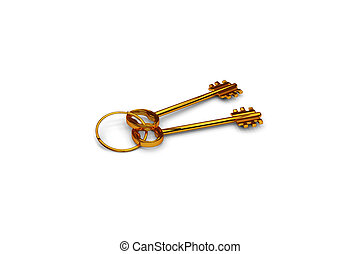 3d illustration of a key to the door, happiness, love and home