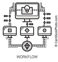 Workflow line icons - Workflow infographic metaphor with...