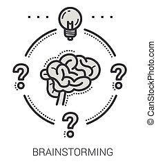 Brainstorming line icons.