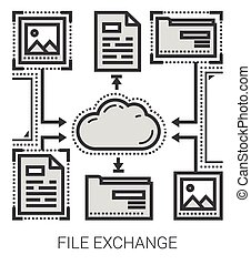 File exchange line icons.