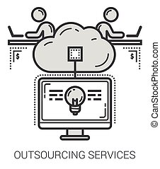 Outsourcing services line icons. - Outsourcing services...