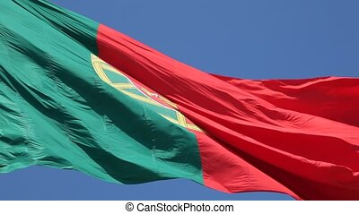 Portuguese Flag against blue sky