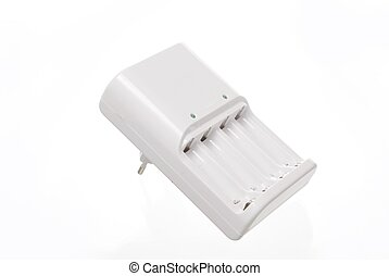 a AA and a AAA rechargable battery charger on white