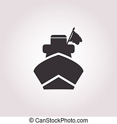 ship icon on white background for web